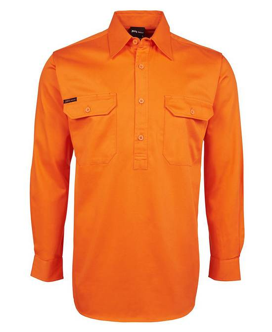6HVCF  Hi Vis L/S 190g Close Front Shirt