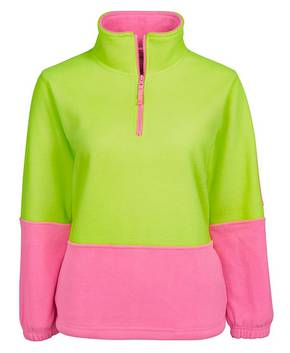 6HVLP Ladies Hi Vis 1/2 Zip Polar Fleecy