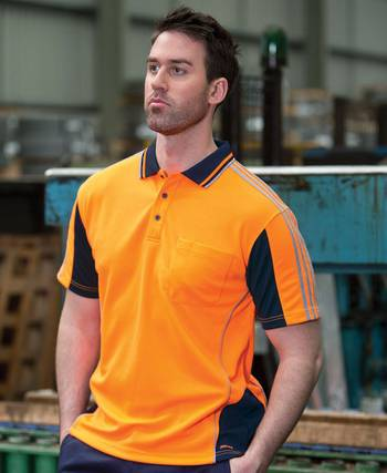 Hi Vis S/S Arm Tape Polo with Printing
